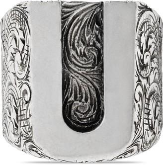 "Gucci ""U"" letter ring in silver"
