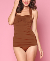 Esther Williams Brown Classic Sheath One-Piece Swimsuit