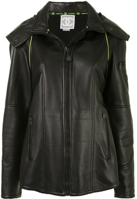 Chanel Pre Owned 2004 Sport Line hooded leather jacket