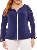 Liz Claiborne Long Sleeve Keyhole Top- Plus
