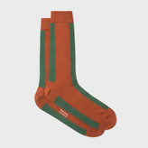 Paul Smith Men's Burnt Orange And Green Mono-Stripe Socks