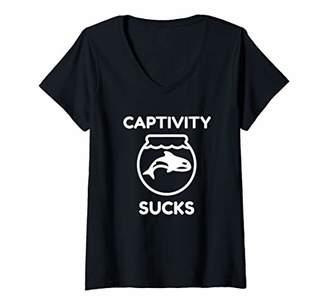 Womens Captivity Sucks Whale Advocate V-Neck T-Shirt