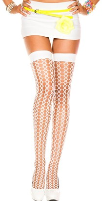 Music Legs Women's Crochet Thigh Hi White Hold-up Stockings One Size (Size:Small/Large 34-40)