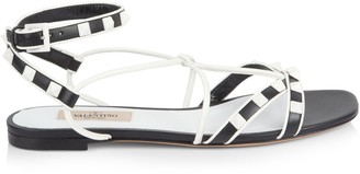 Valentino Two-Tone Rockstud Leather Flat Ankle-Strap Sandals