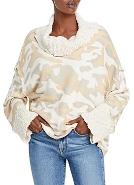 Vintage Havana Camo Print Cowl Neck Sweater
