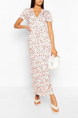 boohoo Tall Floral Print Lace Up Waist Midaxi Dress