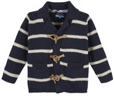 Andy & Evan Striped Cotton Toggle Cardigan, Navy, Size 2-7