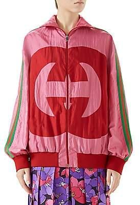 Gucci Women's Long-Sleeve Oversize GG Zip-Up Jacket