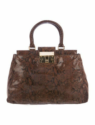 Tory Burch Embossed Suede Handle Bag Brown