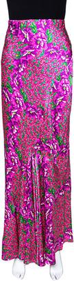 Roberto Cavalli Pink Floral Print Silk Satin Flared Maxi Skirt L
