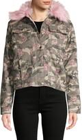 C&C California Faux Fur-Trim Camo & Floral-Print Cotton Jacket
