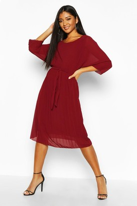 boohoo Pleated Batwing Tie Waist Midi Dress