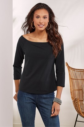 Women Wire Free Molded Cup 3/4 Sleeve Top