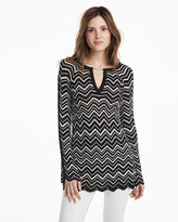 White House Black Market Bell Split Sleeve Chevron Stitch Tunic Sweater