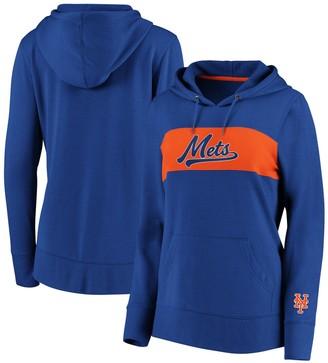 Women's Fanatics Branded Royal New York Mets Tri-Blend Colorblock Pullover Hoodie