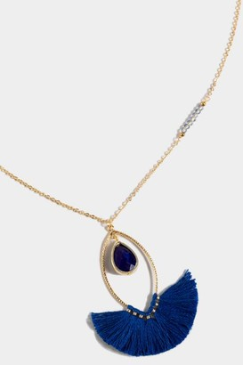 francesca's Peyton Teardrop Fan Tassel Pendant Necklace - Navy