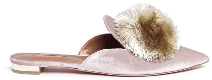 Aquazzura 'Powder Puff' pompom velvet slippers