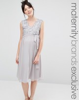 Queen Bee Sleeveless Sequin Lace Bodice Midi Dress With Tulle Skirt