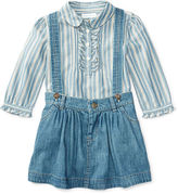 Ralph Lauren Ruffled Top & Denim Jumper Set
