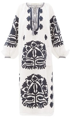 Vita Kin - Shalimar Floral-applique Linen Dress - White Navy