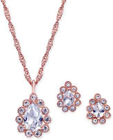 Charter Club Rose Gold-Tone Crystal Pendant Necklace & Stud Earrings Set, Created for Macy's