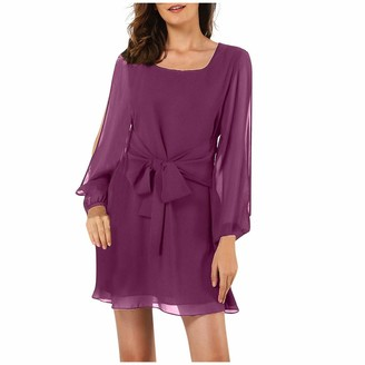 Sonojie Women's Casual Chiffon Hollow Out Crewneck Dresses