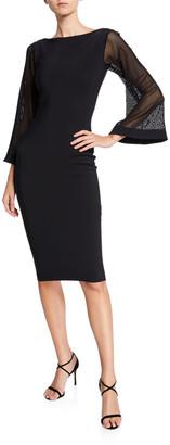 Chiara Boni Bateau-Neck Mesh-Sleeve Cocktail Dress