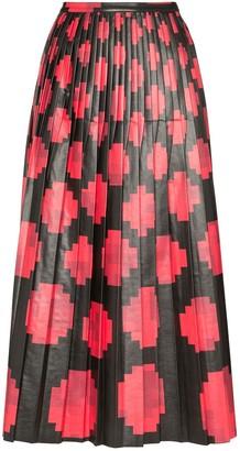 Marni Pixel-Print Pleated Midi-Skirt