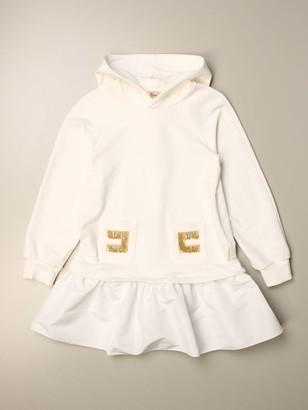 Elisabetta Franchi Sweatshirt Dress With Fringed Logo