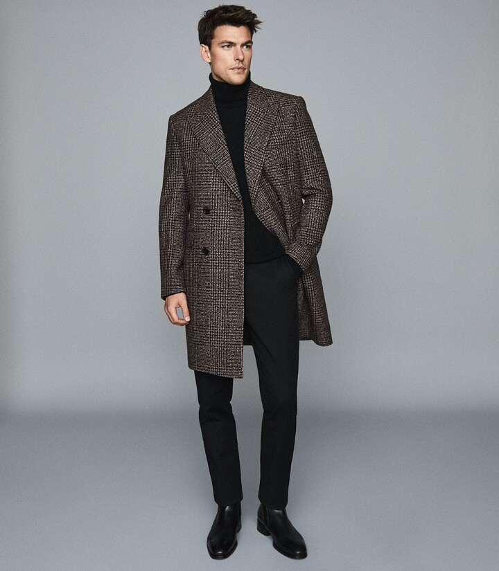 Reiss MERIT CHECKED DOUBLE BREASTED COAT Brown