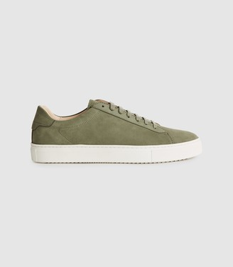 Reiss Finley - Nubuck Leather Trainers in Green