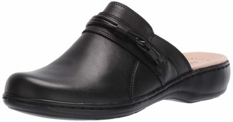 Clarks Women's Leisa Clover Clog Black Leather 11 Medium