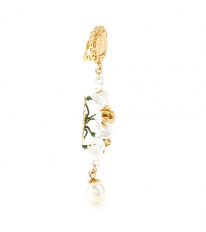 Dolce & Gabbana Crystal-embellished enamel clip-on earrings