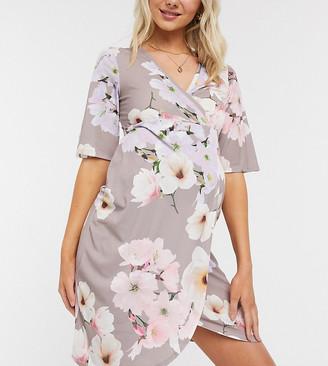 Blume Maternity wrap bodycon midi dress in floral