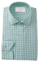 Lorenzo Uomo Textured Plaid Trim Fit Dress Shirt