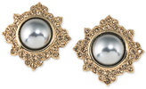Carolee Gold-Tone Imitation Pearl and Pavé Stud Earrings