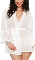 Dreamgirl Pearl White Sheer Lace-Accent Robe & Boyshorts Set - Plus