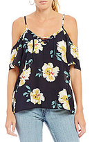 Moa Moa Floral Printed Cold Shoulder Lace-Up Top