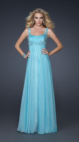 La Femme Beaded and Ruched Sweetheart Chiffon A-line Gown 17476