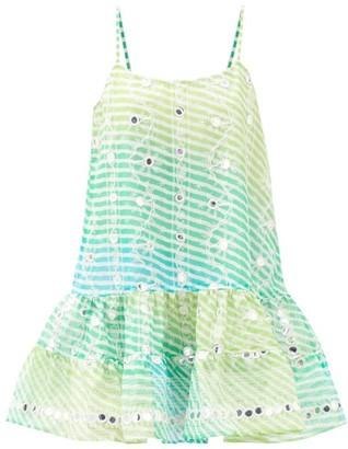 Juliet Dunn Mirror-embroidered Cotton Mini Dress - Yellow Multi