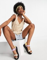 Thumbnail for your product : New Look textured v neck tie strap cami in neutral stone