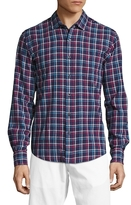 Toscano Long Sleeve Plaid Linen Sportshirt