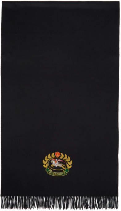Burberry Black Large Cashmere Crest Logo Scarf