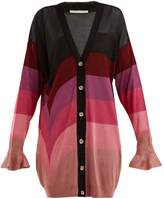 Marco De Vincenzo Ruffled-cuff striped cardigan