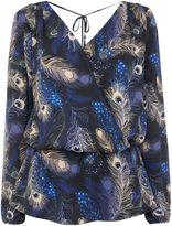 Biba Peacock printed wrap blouse