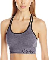 Calvin Klein Women's Long Line Strappy Bra W/ Ruched Front