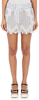 Sacai WOMEN'S LACE-TRIMMED STRIPED SHORTS