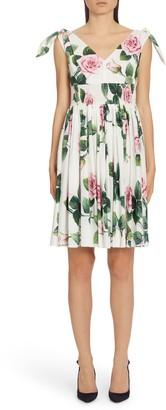 Dolce & Gabbana Rose Print Tie Strap A-Line Dress