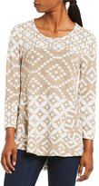 Multiples 3/4 Sleeve Hi-Lo Print Brushed Knit Top