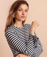 Brooks Brothers Floral-Embroidered Striped Long-Sleeve T-Shirt